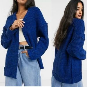 NWT Free People Forever Blue Combo Cardigan